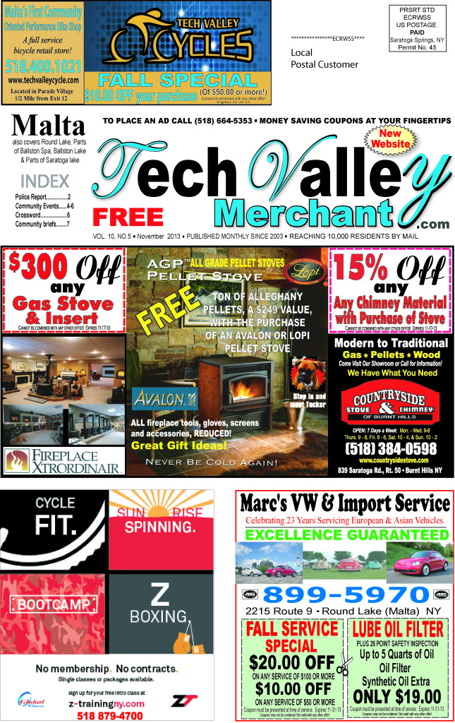 Tech Valley Merchant Front Page for November 2013